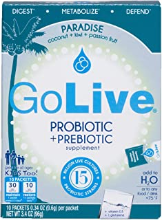GoLive Probiotics for Women, Men and Children with Vitamin D3 - Prebiotics and Probiotics for Gut & Digestive Health - Doctor & Dietitian Recommended – Coconut, Kiwi, Passion Fruit Flavored – 10 Ct