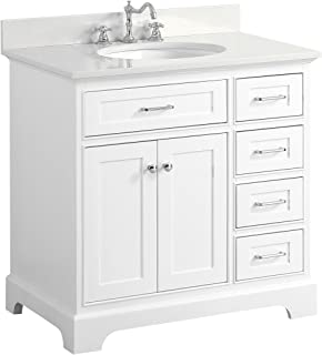 Aria 36-inch Bathroom Vanity (Quartz/White): Includes a White Cabinet with Soft Close Drawers, Quartz Countertop, and White Ceramic Sink