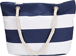 Inpluser Women's Travel Tote Beach Bag with Inner Zipper with Rope Handles