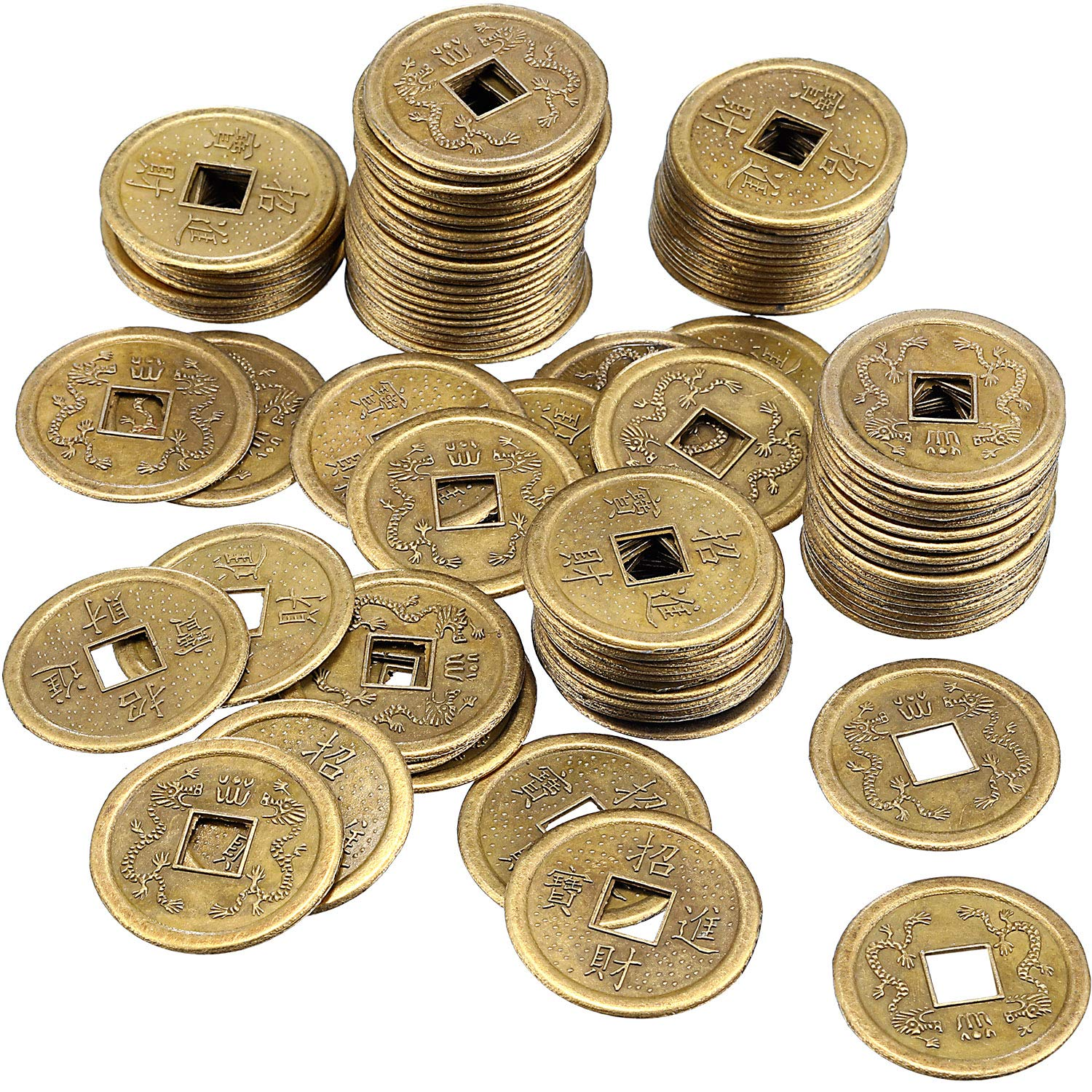 Motanar 100 Pieces 1 Inch Chinese Fortune Coins Feng Shui I-Ching Coins Chinese Good Luck Coins Ancient Chinese Dynasty Time Coin