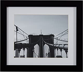 Rivet Black and White Matted Print Wall Art of Brooklyn Bridge, Black Frame, 22