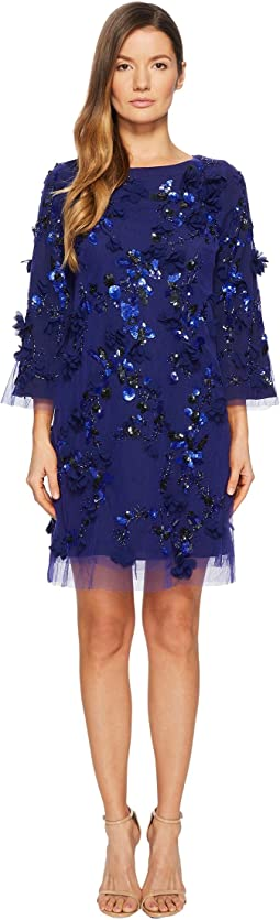 Marchesa Notte Embroidered Tunic with Sequins and Beads