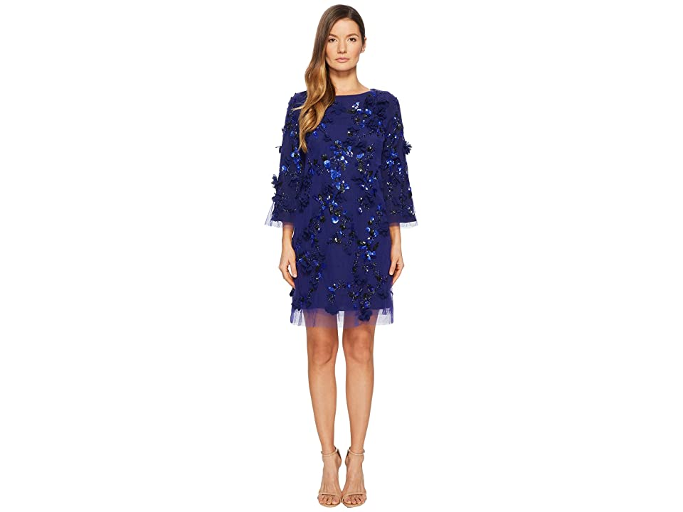 Marchesa Notte Embroidered Tunic with Sequins and Beads (Royal) Women