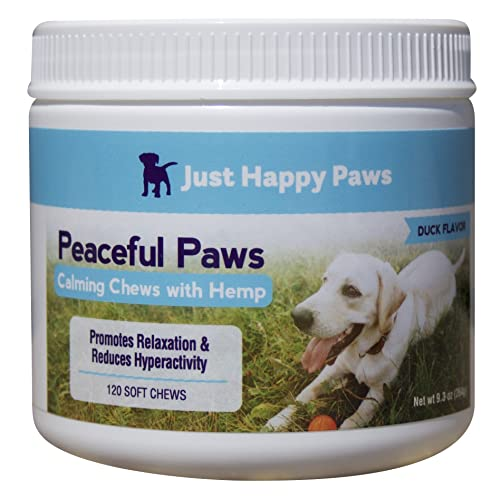 Just Happy Paws Calming Chews for Dogs, Anxiety Relief with Hemp, Stress Relief from Weather, Separation Anxiety, Excessive Barking, Unwanted Chewing, 120 Soft Chews