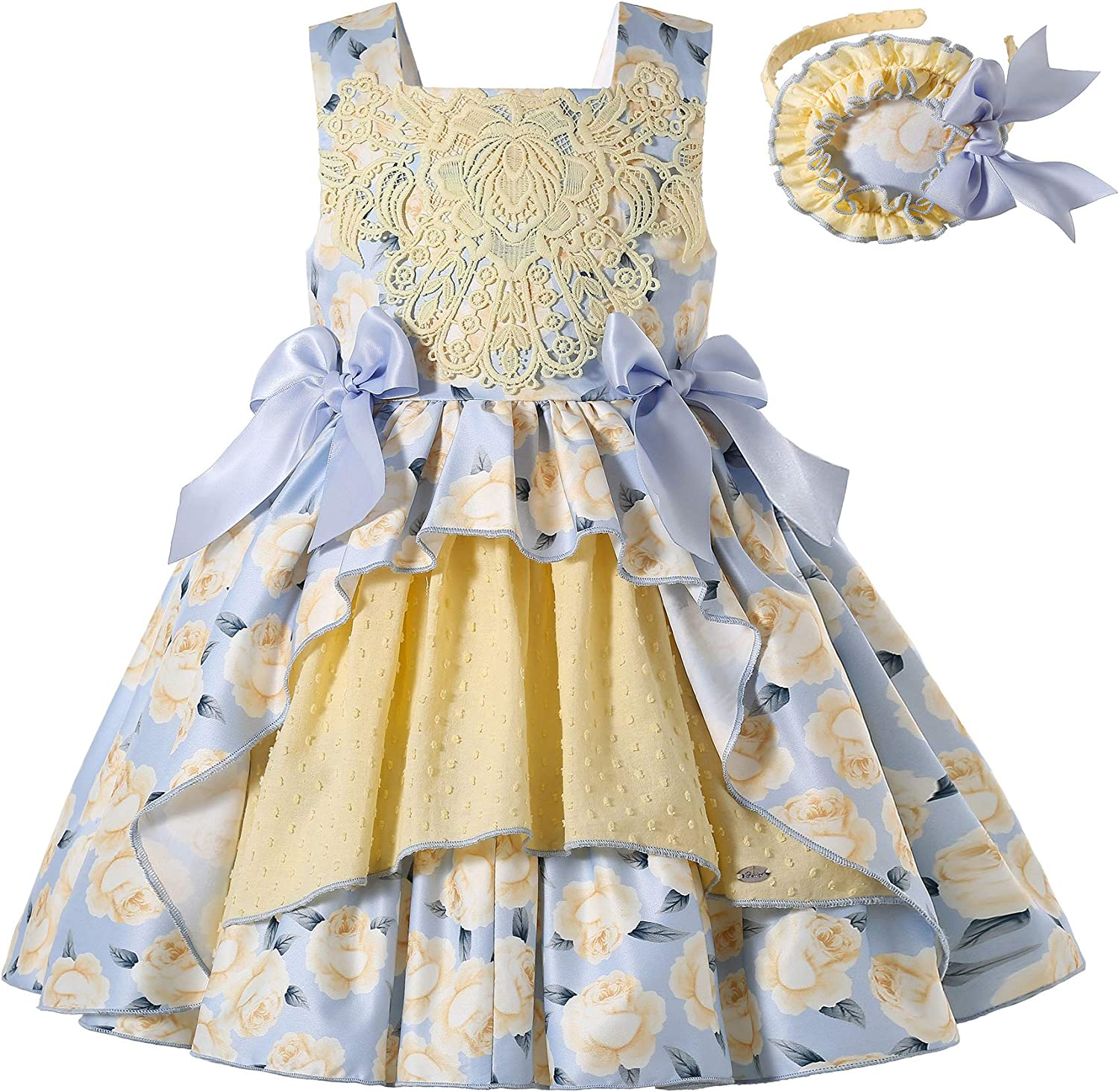 wholesale Pettigirl Large discharge sale Girl Summer Yellow Floral Vintage Sleeveless Ceremony