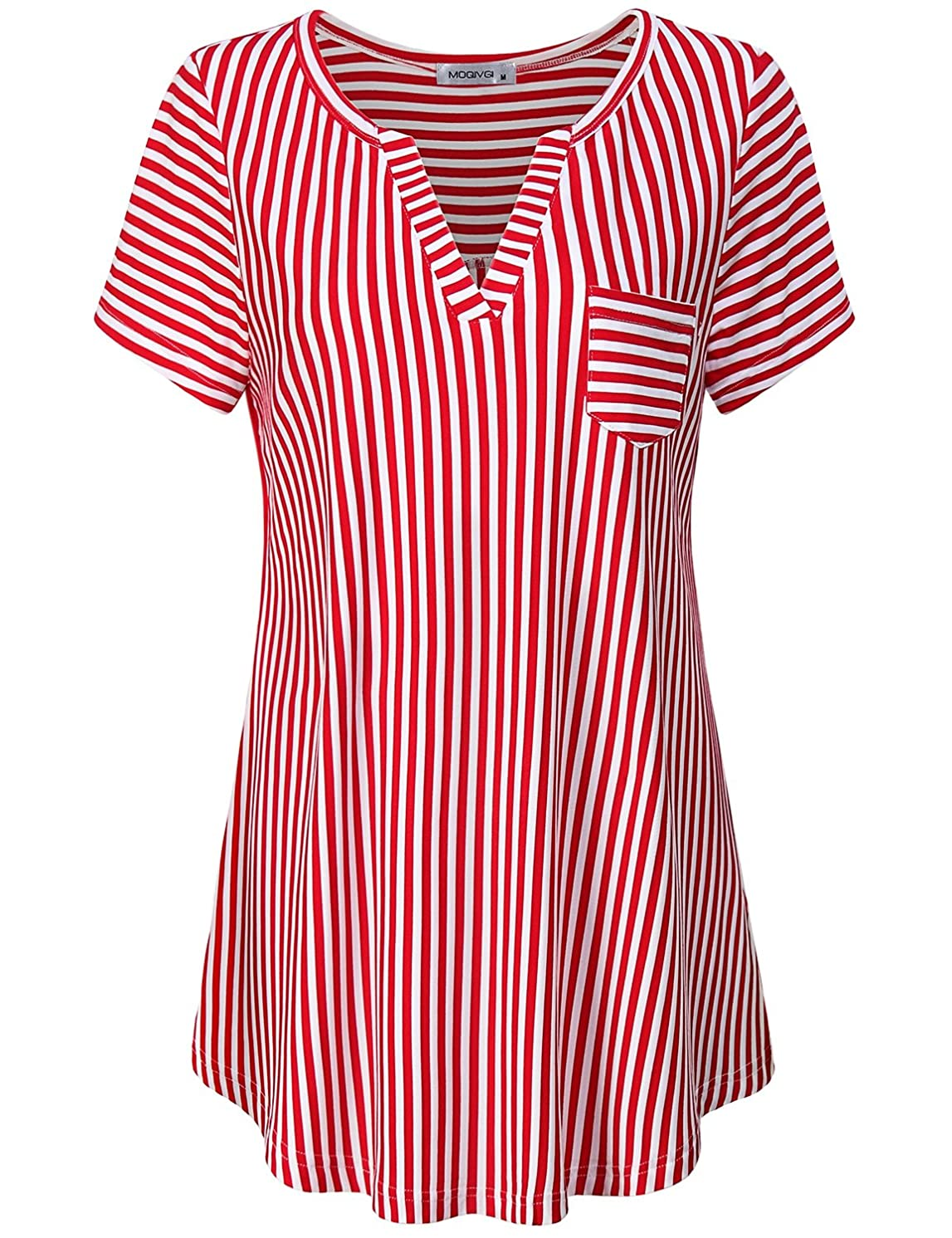 MOQIVGI Women's Summer Stripe Vneck Short Sleeve Blouse Tops