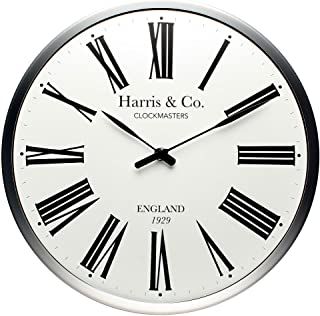 Harris & Co. Clockmasters Premium Luxury Wall Clock Luxury Roman Design - 13 inch (Metal Frame & Curved Glass)(Silent Swee...
