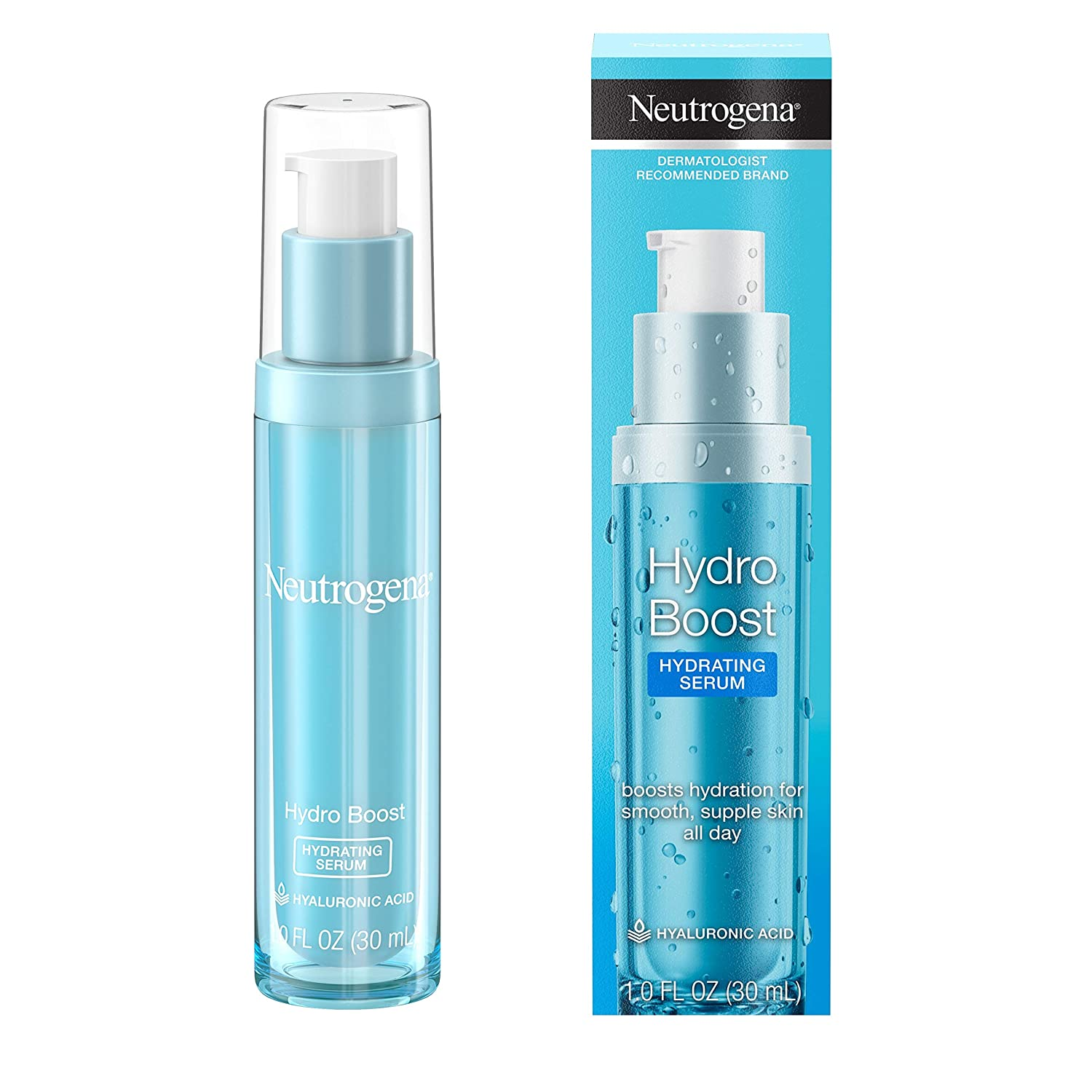 Neutrogena Hydro Boost Hydrating Hyaluronic Acid Serum, Oil-Free and Non-Comedogenic Face Serum Formula for Glowing Complexion, Oil-Free &...
