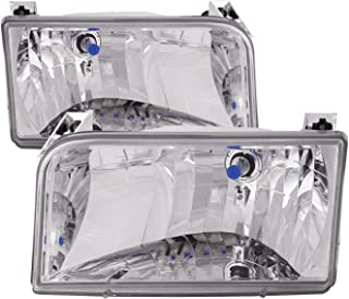 HEADLIGHTSDEPOT Chrome Housing Halogen Left and Right Headlights Pair Compatible With Tiffin Allegro Bay 2001-2003 Motorhome RV
