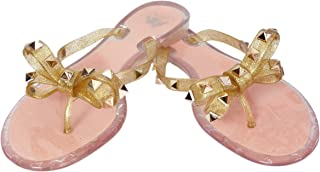 LAVAU Womens Rivets Sandals Bow Flip Flops Jelly Thong Sandal Flat Summer Beach Rain Shoes