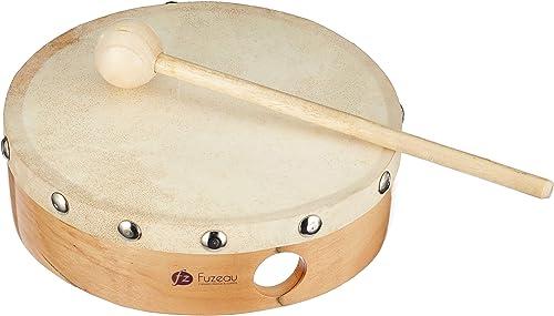 FUZEAU - 70626 - Tambourin en bois - Peau naturelle Ø 15 cm sans cymbalette - Livré avec 1 mailloche - Authenticité d...
