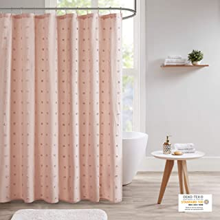 Urban Habitat UH70-2242 Brooklyn Cotton Fabric Shower Curtain Jacquard Pom Machine Washable Shabby Chic Modern Home Bathro...