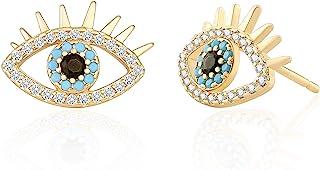 18K Gold Evil Eye Stud Earrings Dainty Micro-inlaid Cubic Zirconia Earring for Women Handmade Post Jewelry Fashion Blue Ge...