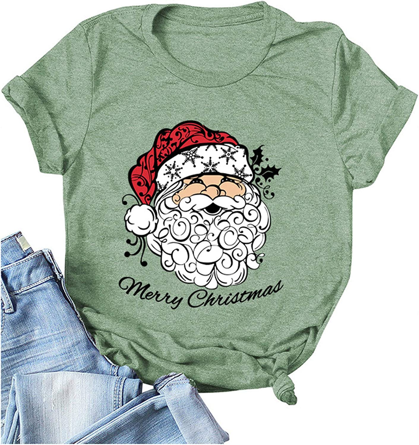 Be super welcome YSLMNOR Christmas Santa Claus T Womens Max 56% OFF Shirt Letter for Printed