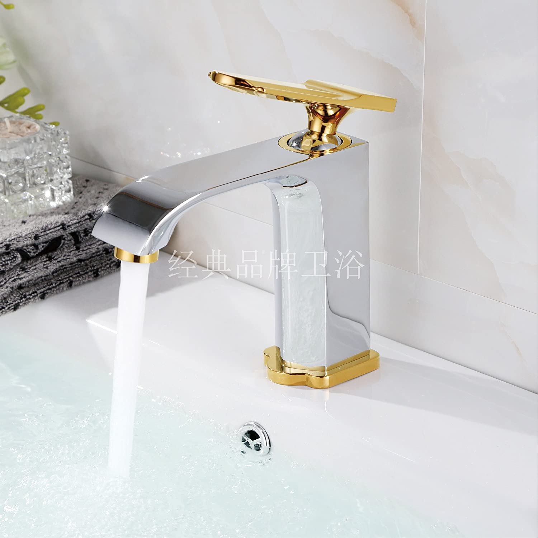 SADASD Contemporary Bathroom Full Copper Basin Faucet Black Matte Low Chrome Plus Basin Sink Mixer Tap Ceramic Valve Single Hole Single Handle Cold Water With G1 2 Hose