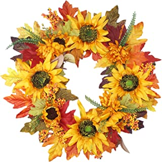 Foreveructe 18'' Artificial Sunflowers Wreath,Fall Maple Leaves Wreath with Sunflower,Berries for Front Door, Front Porch Decoration(Fall Foliage Wreath)
