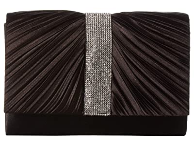 Jessica McClintock Alexis Pleated Clutch (Black) Handbags