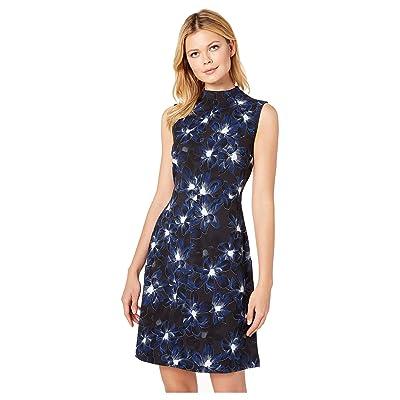 Ellen Tracy Sleeveless Mock Neck Dress (Twilight Blooms Blue) Women