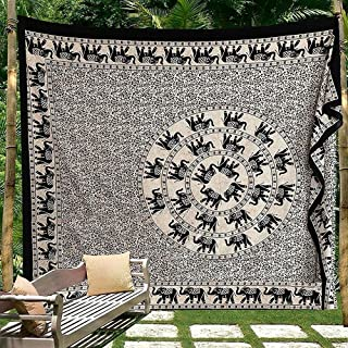 Black and White Indian Traditional Mandala Hippie Wall Hanging Cotton Tapestry Bohemian Bedspread (Elephant Floral Queen Size)