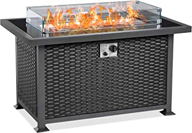 U-MAX 44 Inch Outdoor Auto-Ignition Propane Gas Fire Pit Table, 50,000 BTU CSA Certificate Gas Firepit Aluminum Frame Wicker