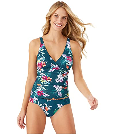 Tommy Bahama Floral Springs Wrap Over the Shoulder Shirred Tankini (Caledon Sea) Women
