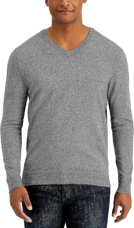 Alfani Mens Sweater Black Marled Pullover 70% OFF Outlet Medium V-Neck Knit Colorado Springs Mall Gra