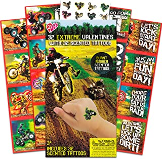 32 Extreme Racing Valentine Cards for Classroom Sharing with BURNT RUBBER Scented Tattoos Motorcycle
