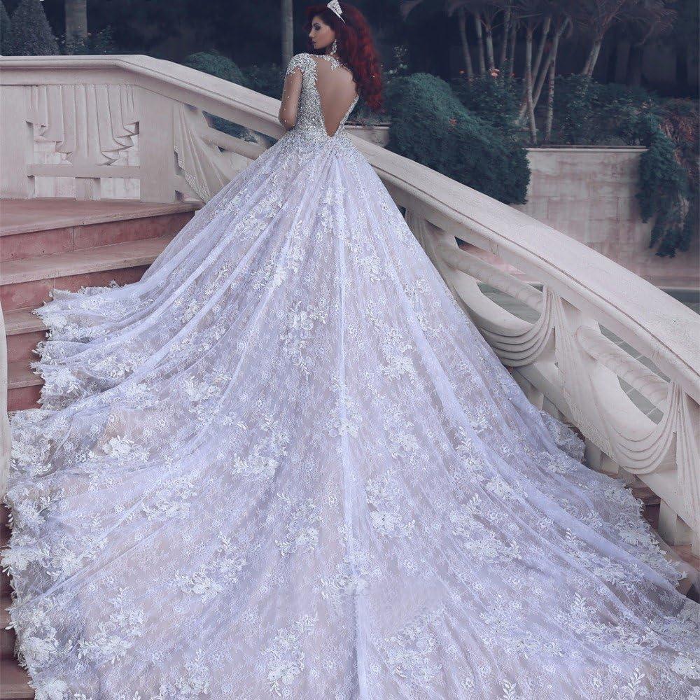 Buy Tsbridal Luxury Crystals Lace Wedding Dresses Long Sleeves ...