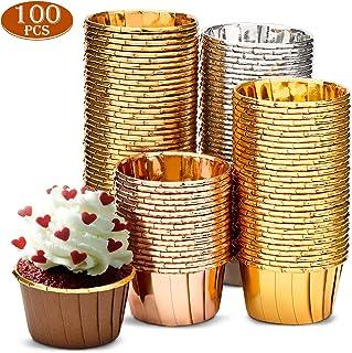 Fancyleo EU Lot de 100 mini caissettes /à muffins en PVC et aluminium /épais Red