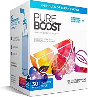Pureboost Clean Energy Drink Mix + Immune System Support. Sugar-Free Energy with B12, Multivitamins, Antiox...