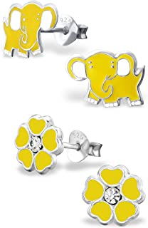 925 Sterling Silver Hypoallergenic Set of 2 Pairs Yellow Elephant & Yellow Flower Stud Earrings for Girls and Women (Nickel Free) 20787