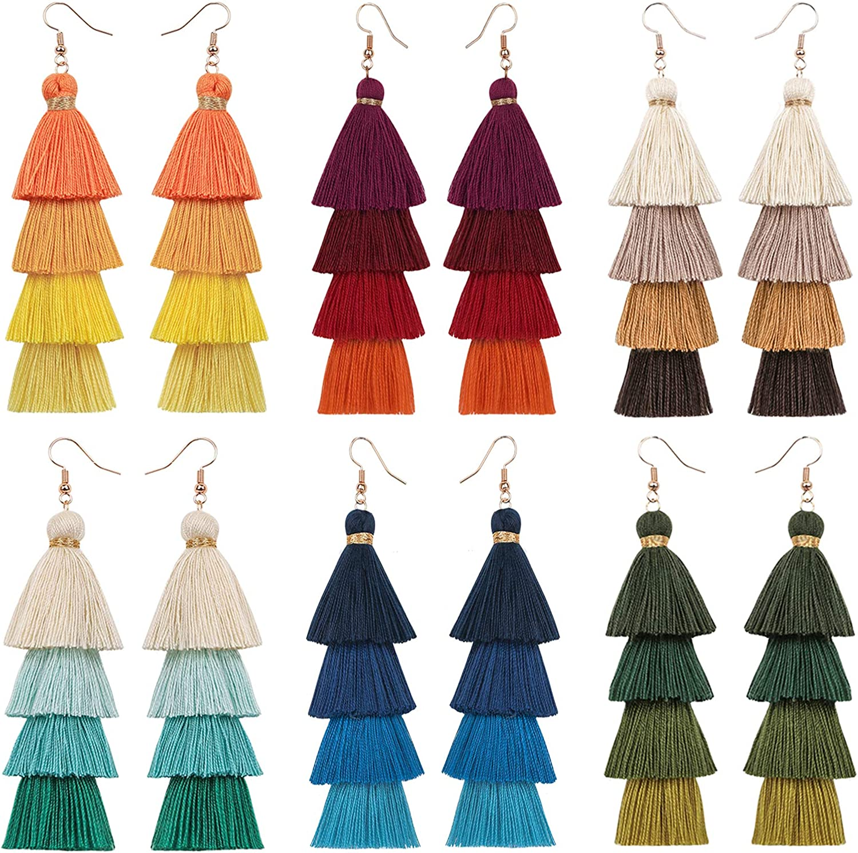 Milakoo 6 Pairs Colorful Tassel Earrings Long Layered Dangle Earrings Bohemian Drop Earrings