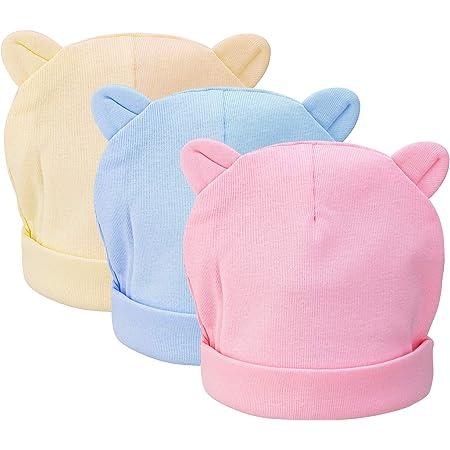 CNNIK 3 Piezas Bebé Beanie Sombrero Recién Nacidos Niño Pequeño Sombrero para 0-3 Meses Bebés Niños Niñas Gorros Otoño Otoño Invierno (Color Claro)