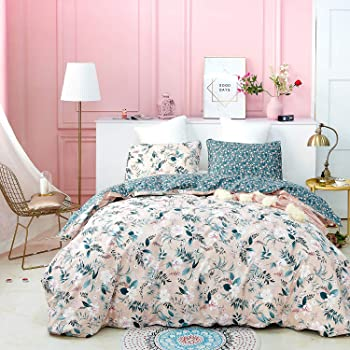 jumeey pink boho duvet cover queen floral bedding sets full cotton girls women peach blossom bohemian bedding queen rustic duvet covers green leaf