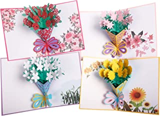 3D Flower Pop Up Greeting Cards Handmade Cards for All Occasions 4 Pack Envelopes Included