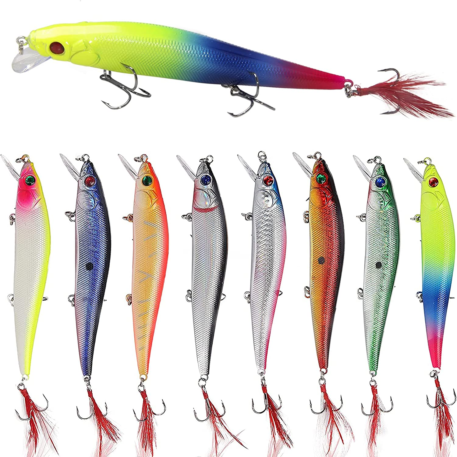 Salwater Fishing Reservation Lures Hard Baits Minnow Set A surprise price is realized 3D Eyes Crankbaits