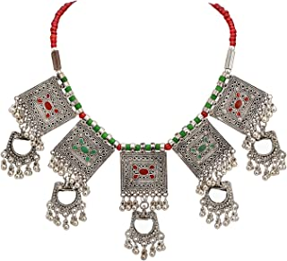 Zephyrr Necklace Carved German Silver Choker Green & Red Beaded Mirror & Enamel for Women and Girls