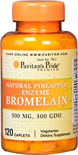 Puritans Pride Natural Pineapple Enzyme Bromelain Caplets, 120 Count