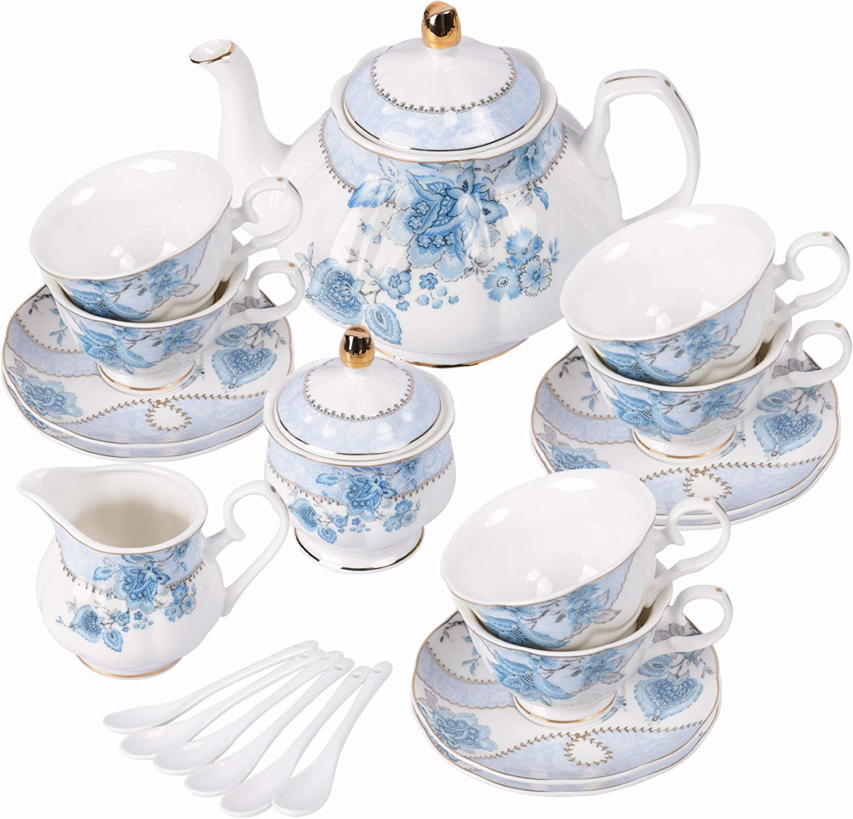 fanquare Juego de Té de Porcelana con Flores Azules, Juego de Taza y Plato de Té, Juego de Té para 6 Personas, Tetera de Boda Azucarera Jarra de Crema, Juego de Café de China