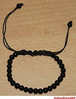 IndianStore4All BLACK AGATE STONE OF PROTECTION BRACELET HELPS RELEASING NEGATIVITY