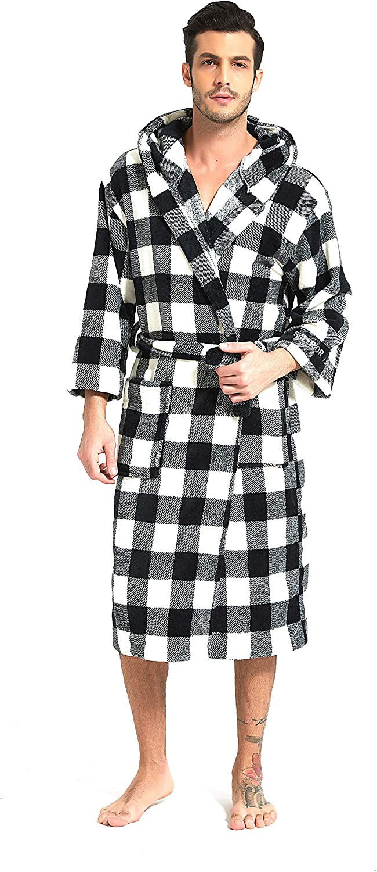 MOONSIROLI Flannel Plaid Robes for Fashionable Hooded Classic Men Women Max 81% OFF Bath