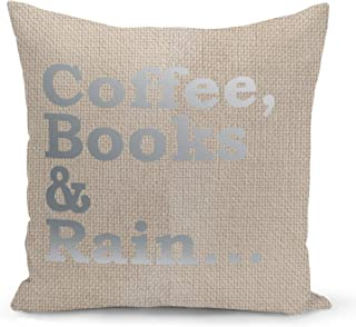Coffee Books Pillow Beige Linen Pillow with Metalic Silver Foil Print Reading Couch Pillows