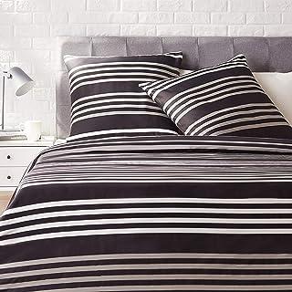 Amazon Basics - Juego de ropa de cama con funda de edredón, de satén, 200 x 200 cm / 65 x 65 cm x 2, A rayas