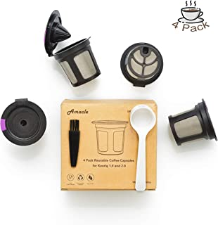 Amacle Reusable K Cups For Keurig Brewers 2.0 & 1.0, K Cup Reusable Pods Huge Stainless Steel Filter Screen, Keurig Machine Replacement Part, Creative Reusable Keurig K Cups, Pack of 4 Reusable K Cup