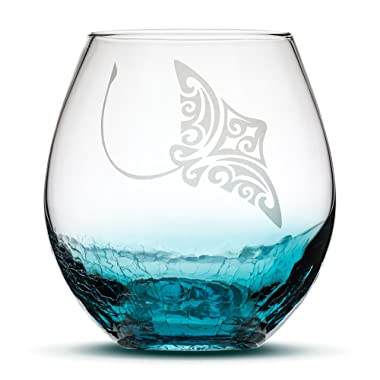 Sand Carved Stemless Wine Glass, Stingray, Crackle Teal, Handblown, Tribal Eagle Ray Design, Etched Gifts by Integrity Bottles (Crackle Teal Stingray)