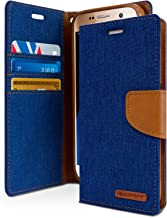 Goospery Canvas Wallet for Samsung Galaxy S7 Case (2016) Denim Stand Flip Cover (Blue) S7-CAN-BLU