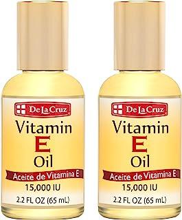 De La Cruz Vitamin E Oil for Skin, Face and Body 15,000 IU - No Preservatives, Artificial Colors or Fragrances, Made in US...