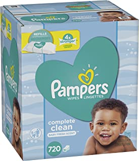 Baby Wipes, Pampers Sensitive Water Baby Diaper Wipes, Complete Clean Scented, 10 Refill Packs for Dispenser Tub, 720 Count