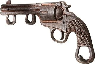 Gift Craft Six-Shooter Design Rustic 14 x 8 Inch Cast Iron 2-Hook Wall Hanger Plaque