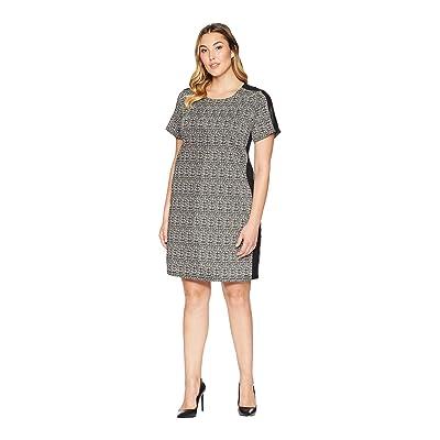 Karen Kane Plus Plus Size Euro Knit Dress (Black/White) Women